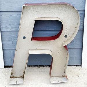 """Antique """"R"""" Metal Industrial Letter Vintage 90s"""